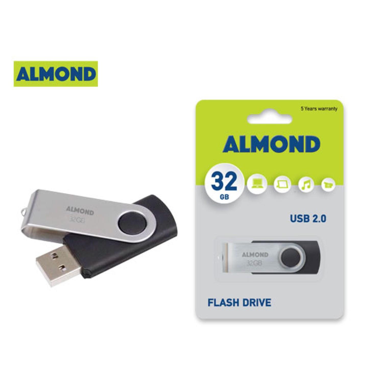 ALMOND FLASH DRIVE USB 32GB TWISTER ΜΑΥΡΟ