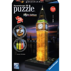 3D PUZZLE ΔΙΑΣΗΜΑ ΚΤΙΡΙΑ: BIG BEN CLOCK NIGHT EDITION (216 TEM) - 12588